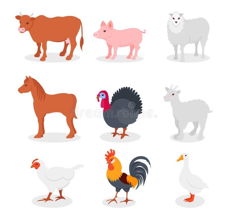Τα ζώα αγροκτημάτων θέτουν, αγελάδα, χοίρος, πρόβατα, άλογο, Τουρκία, αίγα, κότα, κόκκορας, διανυσματικές απεικονίσεις χήνων σε έ απεικόνιση αποθεμάτων