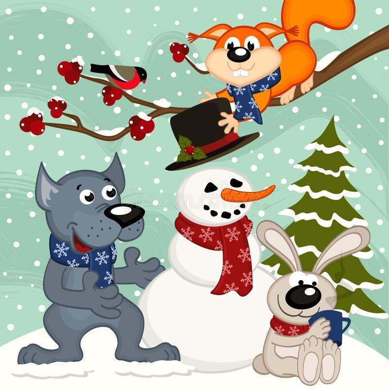Τα ζώα κάνουν το χιονάνθρωπο ελεύθερη απεικόνιση δικαιώματος