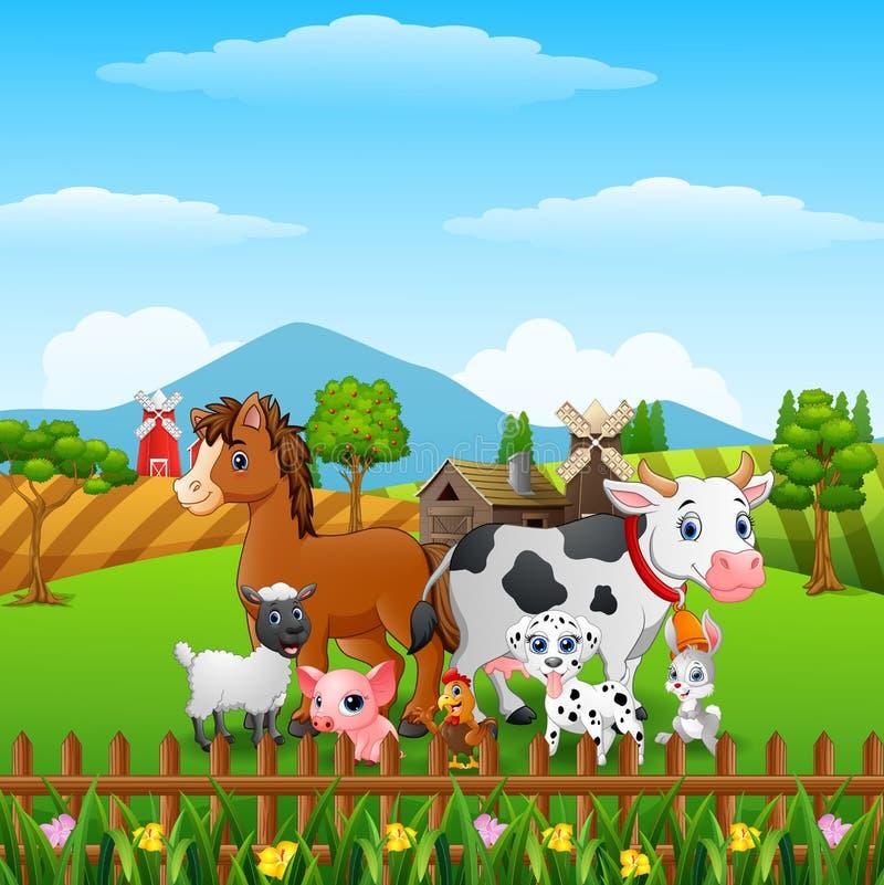 Τα ζώα καλλιεργούν ευτυχή στους λόφους διανυσματική απεικόνιση