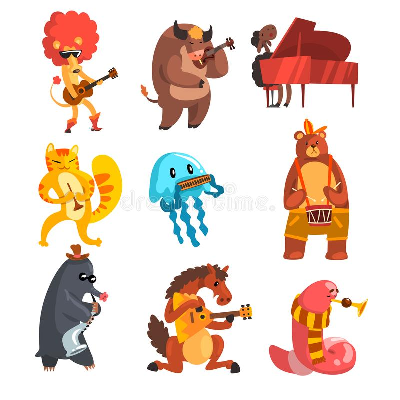 Τα ζώα που παίζουν τα μουσικά όργανα καθορισμένα, λιοντάρι, αγελάδα, πρόβατα, μέδουσα, γάτα, τυφλοπόντικας, άλογο, γεωσκώληκας, α διανυσματική απεικόνιση