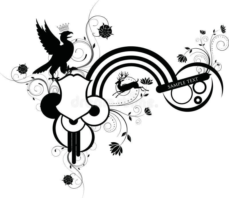 τα ζώα σχεδιάζουν floral διανυσματική απεικόνιση