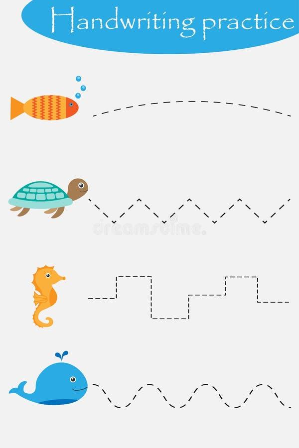 Τα ζώα ωκεανών και θάλασσας κυλούν, αλιεύουν, χελώνα, seahorse, φύλλο πρακτικής γραφής, προσχολική δραστηριότητα παιδιών, εκπαιδε ελεύθερη απεικόνιση δικαιώματος