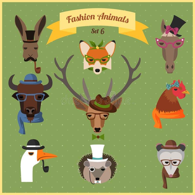 Τα ζώα Hipster μόδας θέτουν 6 διανυσματική απεικόνιση