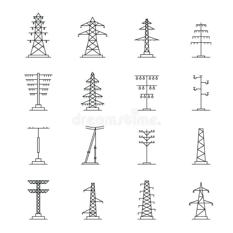 Τα ηλεκτρικά εικονίδια τάσης πύργων καθορισμένα, περιγράφουν το ύφος διανυσματική απεικόνιση