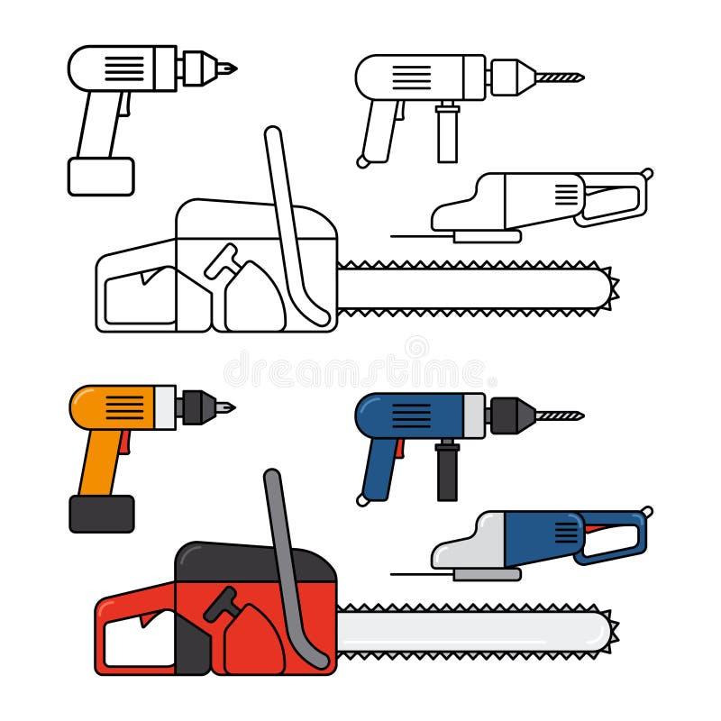 Τα ηλεκτρικά εργαλεία για το σπίτι επισκευάζουν - αλυσιδοπρίονο, τρυπάνι, διανυσματικά εικονίδια γραμμών τορνευτικών πριονιών καθ διανυσματική απεικόνιση