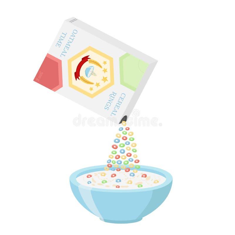 Τα δημητριακά χτυπούν το κιβώτιο με το κύπελλο Oatmeal πρόγευμα - γάλα, οργανικό muesli διανυσματική απεικόνιση