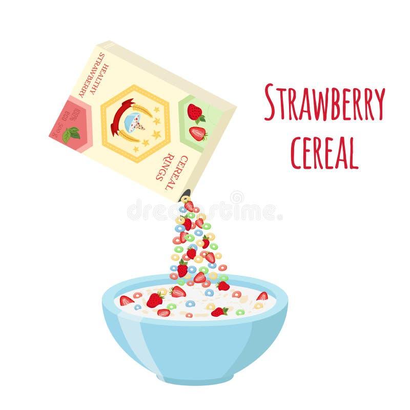 Τα δημητριακά χτυπούν το κιβώτιο, φράουλα με το κύπελλο Oatmeal πρόγευμα με το γάλα απεικόνιση αποθεμάτων