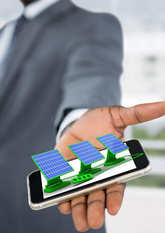 τα ηλιακά πλαίσια στον επιχειρηματία παραδίδουν το γραφείο διανυσματική απεικόνιση
