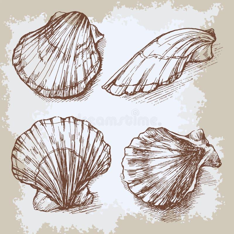 Τα θαλασσινά κοχύλια δίνουν το συρμένο γραφικό εκλεκτής ποιότητας σκίτσο χαρακτικής, υποβρύχια καλλιτεχνική θαλάσσια διακόσμηση διανυσματική απεικόνιση