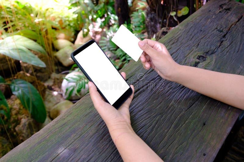 Τα θηλυκά χέρια κρατούν και χρησιμοποιώντας το κινητό τηλέφωνο smartphone με την κενή οθόνη και την κενή πιστωτική κάρτα στοκ εικόνα με δικαίωμα ελεύθερης χρήσης
