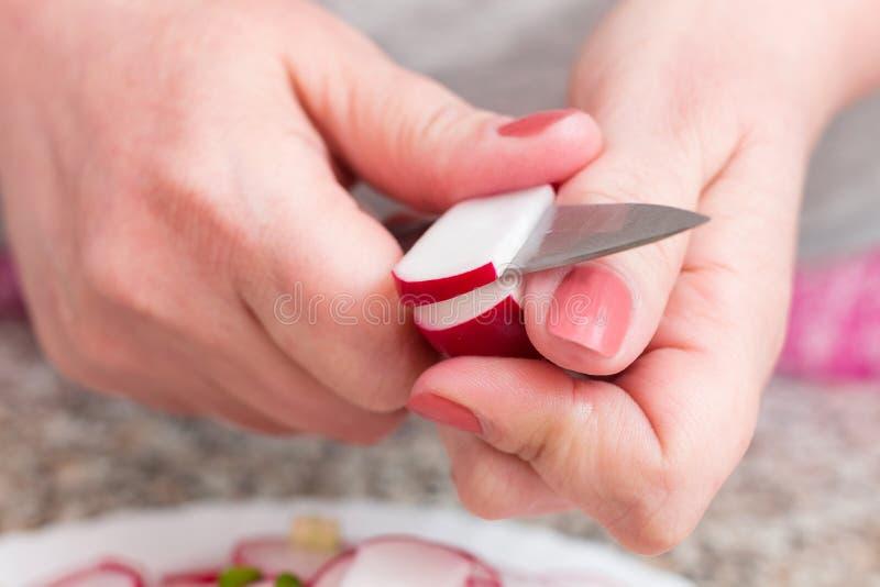 Τα θηλυκά χέρια κλείνουν τα επάνω κομμένα φρέσκα λαχανικά Γυναίκα που κάνει τη σαλάτα άνοιξη με τα ραδίκια και τα κρεμμύδια Το κο στοκ εικόνα