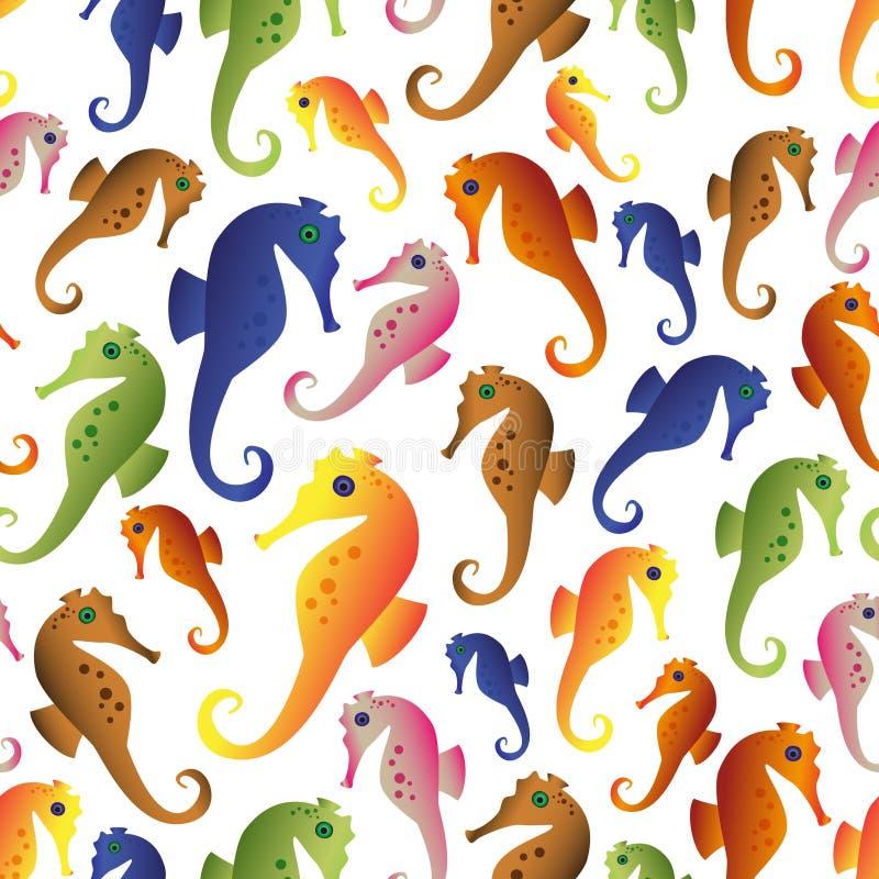 Τα διάφορα εικονίδια χρώματος seahorses καθορισμένα το άνευ ραφής σχέδιο eps10 ελεύθερη απεικόνιση δικαιώματος