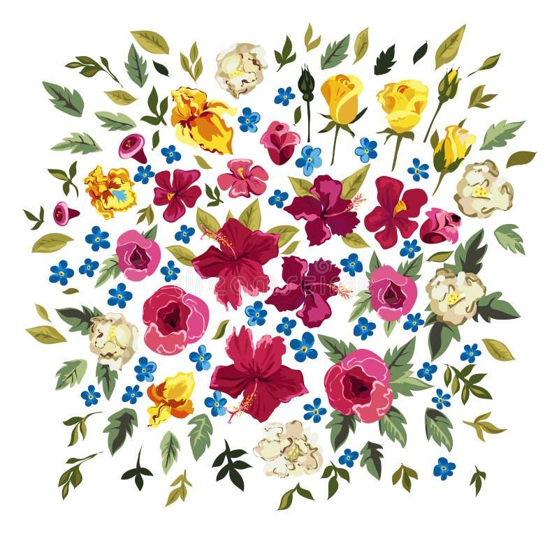 τα διακοσμητικά στοιχεία floral πολλά θέτουν Ζωηρόχρωμη συλλογή με τα φύλλα και τα λουλούδια διανυσματική απεικόνιση