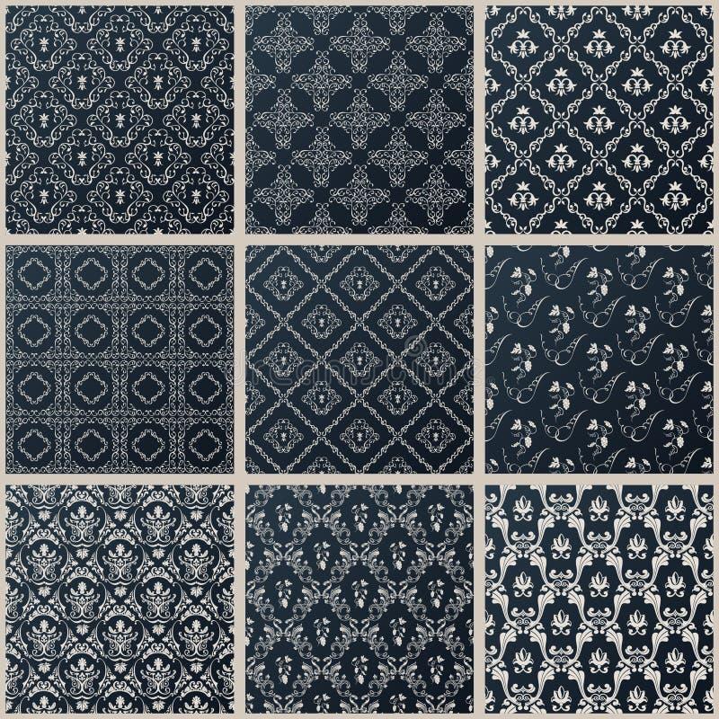 Τα διανυσματικά άνευ ραφής εκλεκτής ποιότητας υπόβαθρα καθορισμένα το μαύρο μπαρόκ σχέδιο ελεύθερη απεικόνιση δικαιώματος