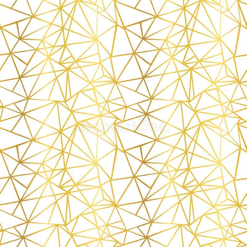 Τα διανυσματικά άσπρα και χρυσά φύλλων αλουμινίου τρίγωνα μωσαϊκών καλωδίων γεωμετρικά επαναλαμβάνουν το άνευ ραφής υπόβαθρο σχεδ απεικόνιση αποθεμάτων