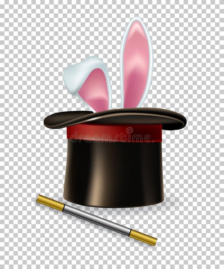 Τα διανυσματικά αυτιά κουνελιών εμφανίζονται από το μαγικό καπέλο και τη μαγική ράβδο που απομονώνονται στο διαφανές υπόβαθρο διανυσματική απεικόνιση