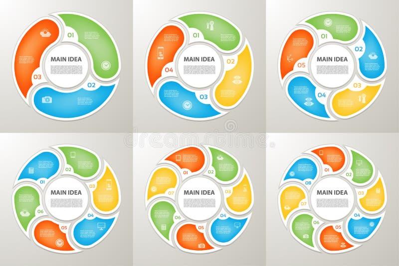Τα διανυσματικά βέλη κύκλων υπογράφουν το infographic σύνολο Διάγραμμα κύκλων, γραφική παράσταση συμβόλων, γρίφος ελεύθερη απεικόνιση δικαιώματος