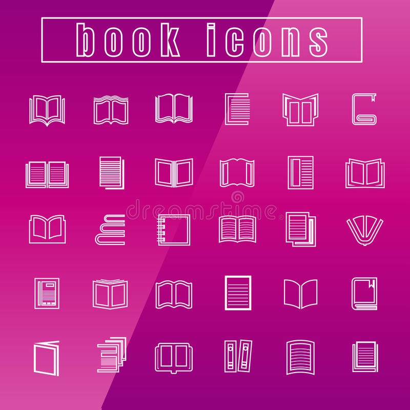 Τα διανυσματικά βιβλία εικονιδίων λεπταίνουν το λευκό γραμμών απεικόνιση αποθεμάτων