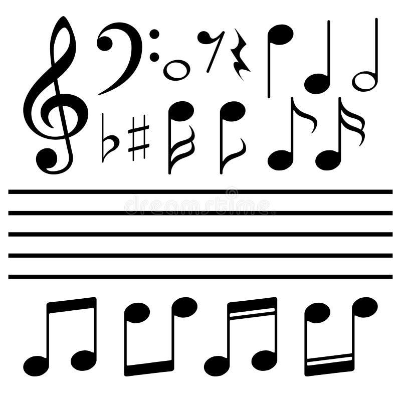 Τα διανυσματικά εικονίδια καθορισμένα τη σημείωση μουσικής ελεύθερη απεικόνιση δικαιώματος