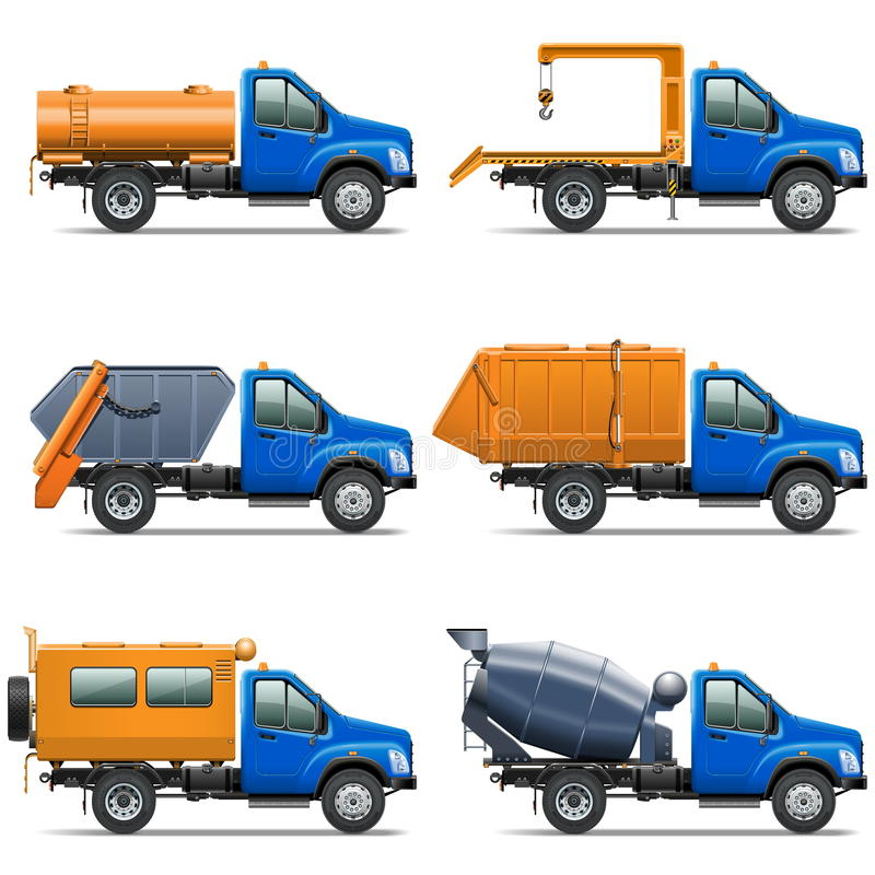 Τα διανυσματικά εικονίδια φορτηγών θέτουν 5 ελεύθερη απεικόνιση δικαιώματος