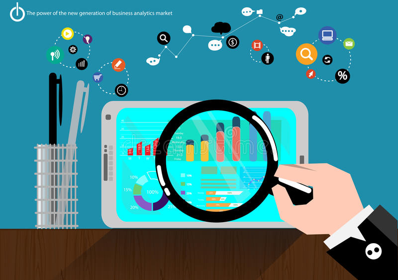 Τα διανυσματικά στοιχεία αγοράς επιχειρησιακής ανάλυσης ηλεκτρικής παραγωγής με τις προηγμένες επικοινωνίες κάνουν εμπόριο γρήγορ ελεύθερη απεικόνιση δικαιώματος
