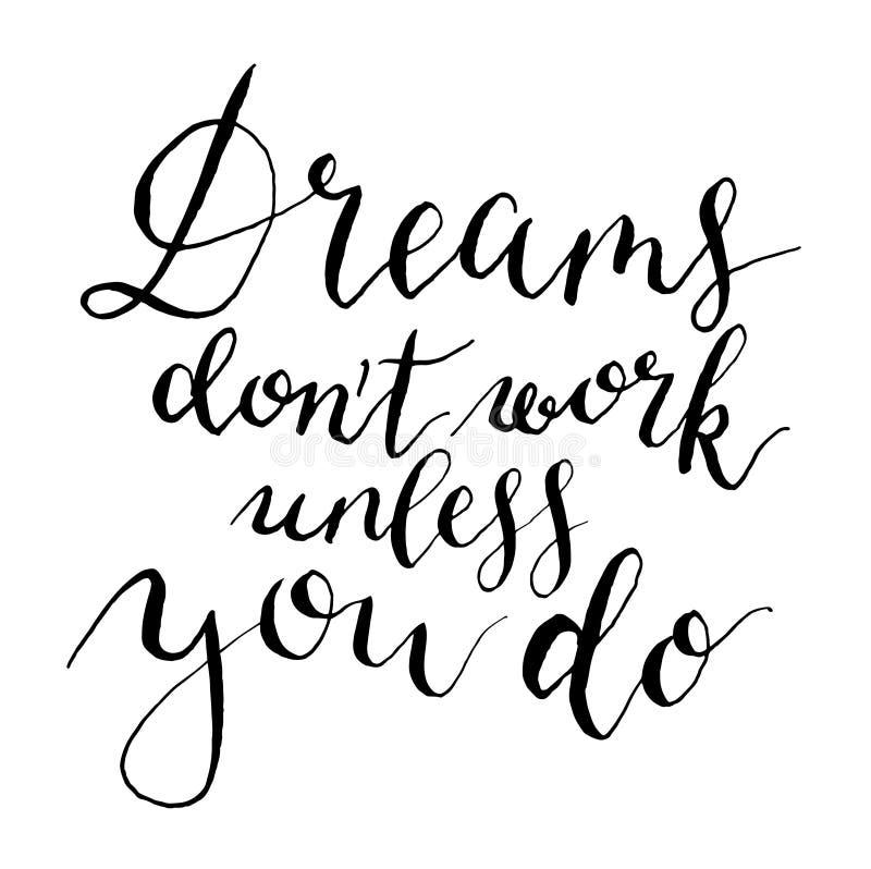 Τα διανυσματικά όνειρα δεν λειτουργούν εκτός αν Χρωματισμένη χέρι κάρτα για το σχέδιο ή το υπόβαθρο διανυσματική απεικόνιση
