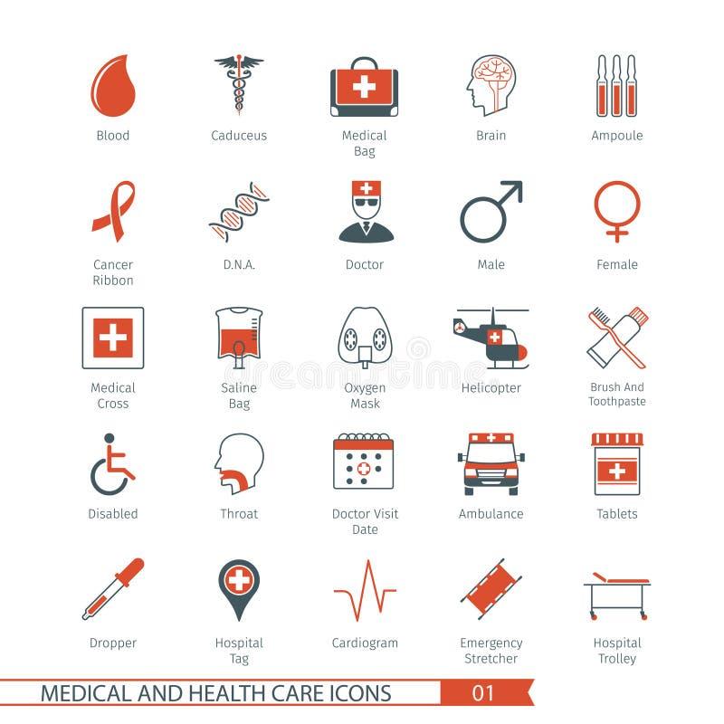 Τα ιατρικά εικονίδια θέτουν 01 απεικόνιση αποθεμάτων