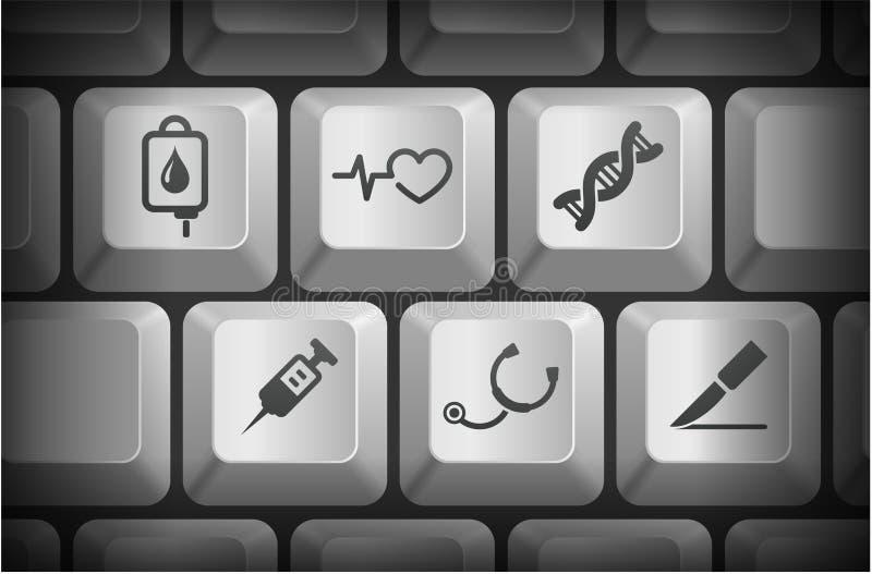 Τα ιατρικά εικονίδια στον υπολογιστή πληκτρολογούν τα κουμπιά ελεύθερη απεικόνιση δικαιώματος