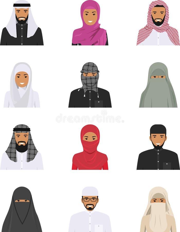 Τα διαφορετικά μουσουλμανικά αραβικά εικονίδια ειδώλων χαρακτήρων ανθρώπων θέτουν στο επίπεδο ύφος που απομονώνεται στο άσπρο υπό διανυσματική απεικόνιση