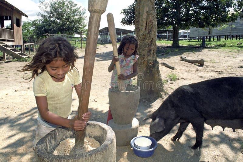 Τα ινδικά κορίτσια σφυροκοπούν το ρύζι με τα γουδοχέρια ρυζιού στοκ εικόνα με δικαίωμα ελεύθερης χρήσης