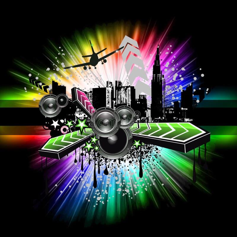 τα ιπτάμενα disco ανάβουν αστι&kap διανυσματική απεικόνιση