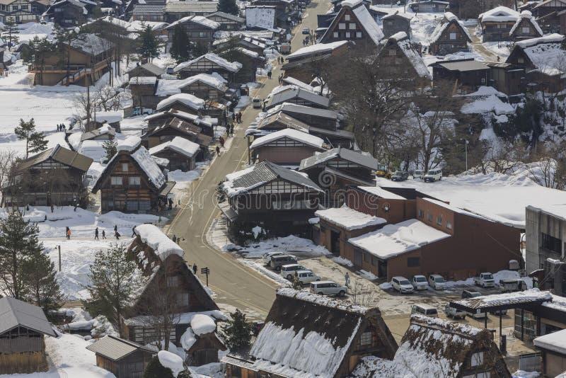 Τα ιστορικά χωριά shirakawa-πηγαίνουν σε μια χιονώδη ημέρα στοκ φωτογραφίες