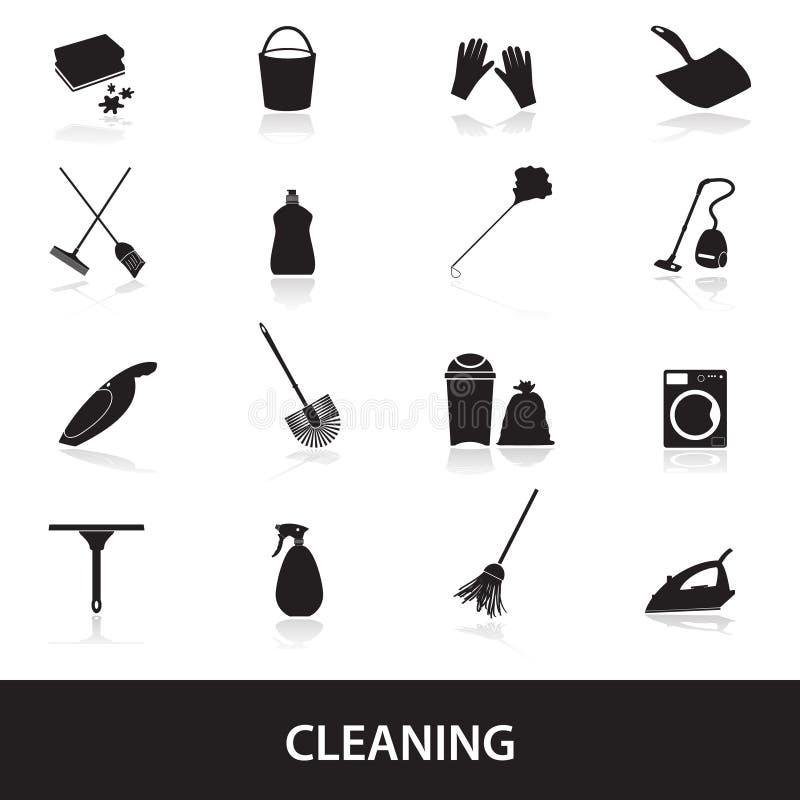 Τα καθαρίζοντας εικονίδια καθορισμένα eps10 απεικόνιση αποθεμάτων