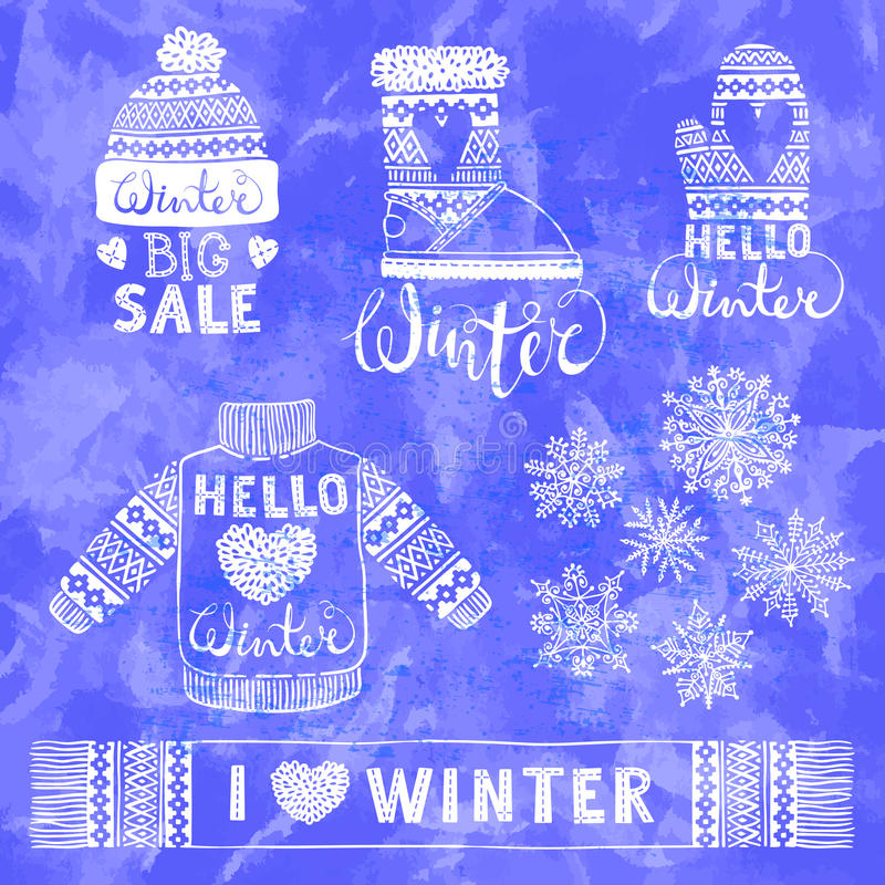 Τα καθορισμένα σχέδια έπλεξαν το μάλλινους ιματισμό και τα υποδήματα Πουλόβερ, καπέλο, γάντι, μπότα, μαντίλι με τα σχέδια, snowfl ελεύθερη απεικόνιση δικαιώματος