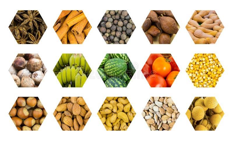 Τα καθορισμένα φρούτα και τα καρύδια κυψελωτών λαχανικών εικονιδίων, βασίζουν τη hexahedral ντομάτα καρπουζιών κυττάρων στοκ φωτογραφία με δικαίωμα ελεύθερης χρήσης
