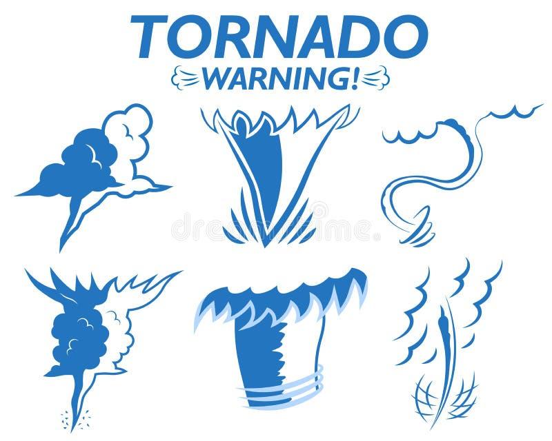 Τα καιρικά εικονίδια καθορισμένα τα μπουρίνια αέρα σύννεφων προειδοποίησης ανεμοστροβίλου της θύελλας χαλαζιού βροχής Εποχή ανεμο διανυσματική απεικόνιση