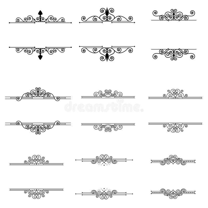 Τα καλλιγραφικά στοιχεία και τα πλαίσια σχεδίου καθορισμένα την εκλεκτής ποιότητας διανυσματική συλλογή διανυσματική απεικόνιση