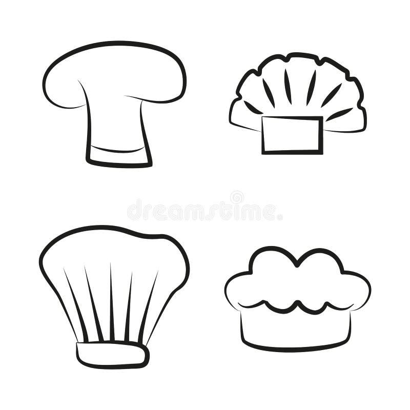 Τα καλύμματα κουζινών καθορισμένα το στοιχείο Headwear για τον αρχιμάγειρα Cook Baker διανυσματική απεικόνιση