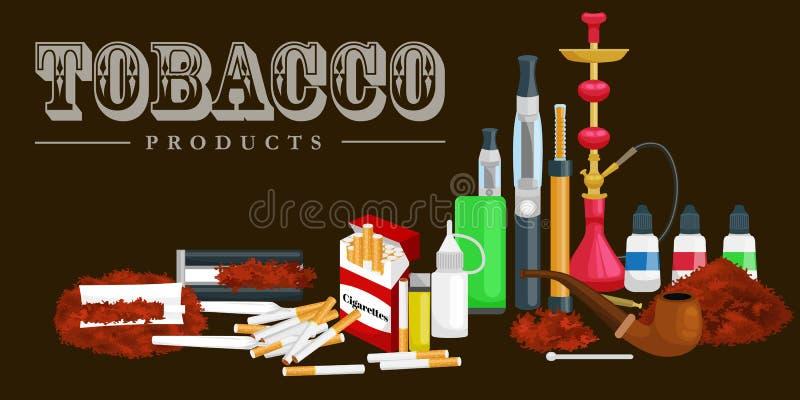Τα καπνίζοντας εικονίδια προϊόντων καπνού θέτουν με την απομονωμένη αναπτήρας διανυσματική απεικόνιση πούρων τσιγάρων hookah διανυσματική απεικόνιση