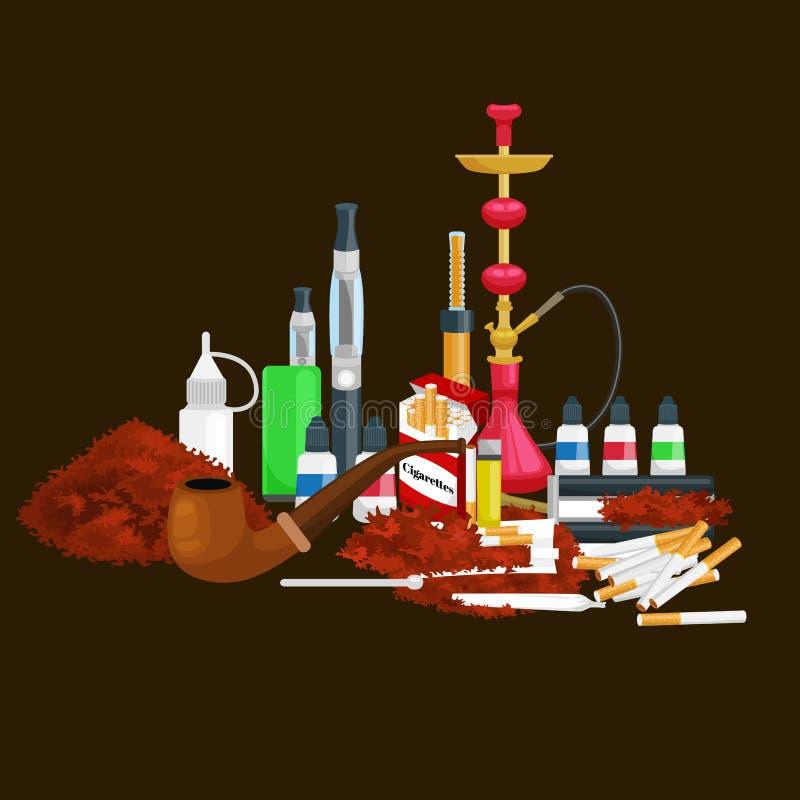 Τα καπνίζοντας εικονίδια προϊόντων καπνού θέτουν με την απομονωμένη αναπτήρας διανυσματική απεικόνιση πούρων τσιγάρων hookah ελεύθερη απεικόνιση δικαιώματος