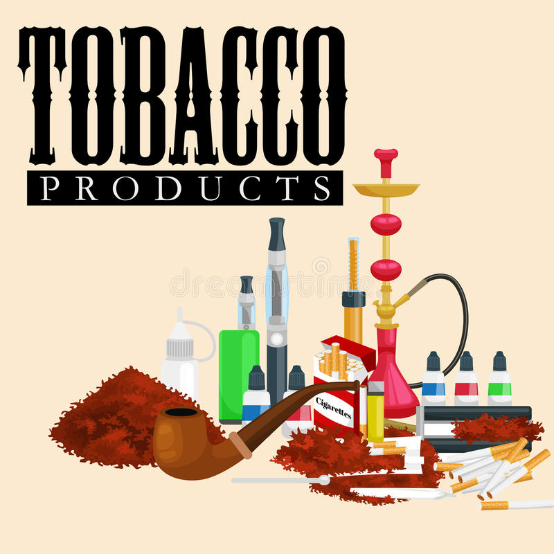 Τα καπνίζοντας εικονίδια προϊόντων καπνού θέτουν με την απομονωμένη αναπτήρας διανυσματική απεικόνιση πούρων τσιγάρων hookah απεικόνιση αποθεμάτων