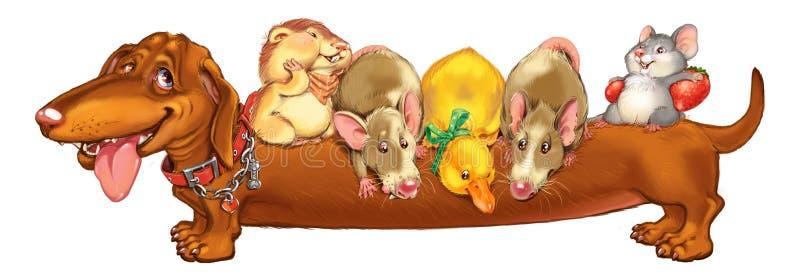 Τα κατοικίδια ζώα κινούμενων σχεδίων προσκαλούν σε διακοπές ελεύθερη απεικόνιση δικαιώματος
