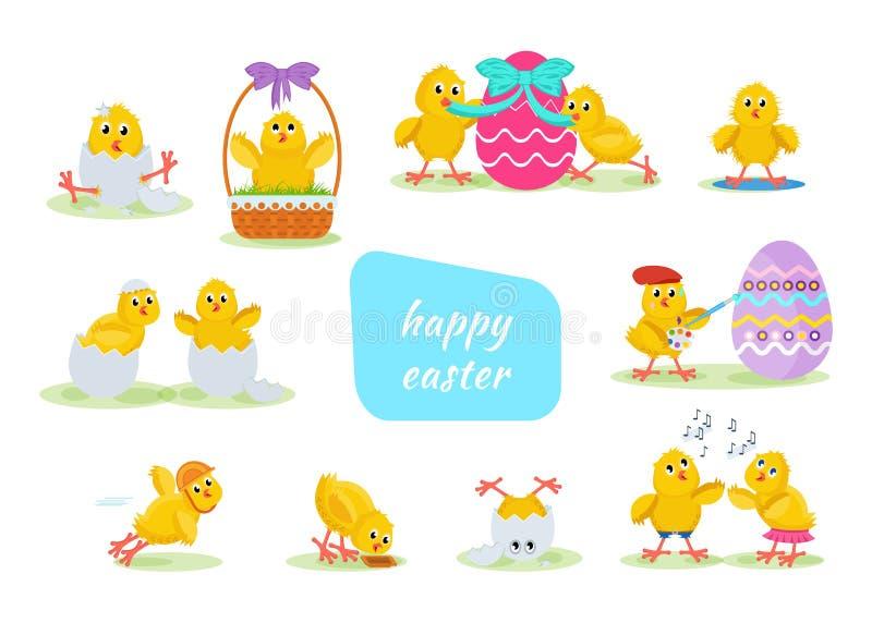 Τα καλά κοτόπουλα έχουν τη διασκέδαση, γιορτάζουν, επιτρέπουν, Πάσχα, το τρέξιμο, μύγα ελεύθερη απεικόνιση δικαιώματος