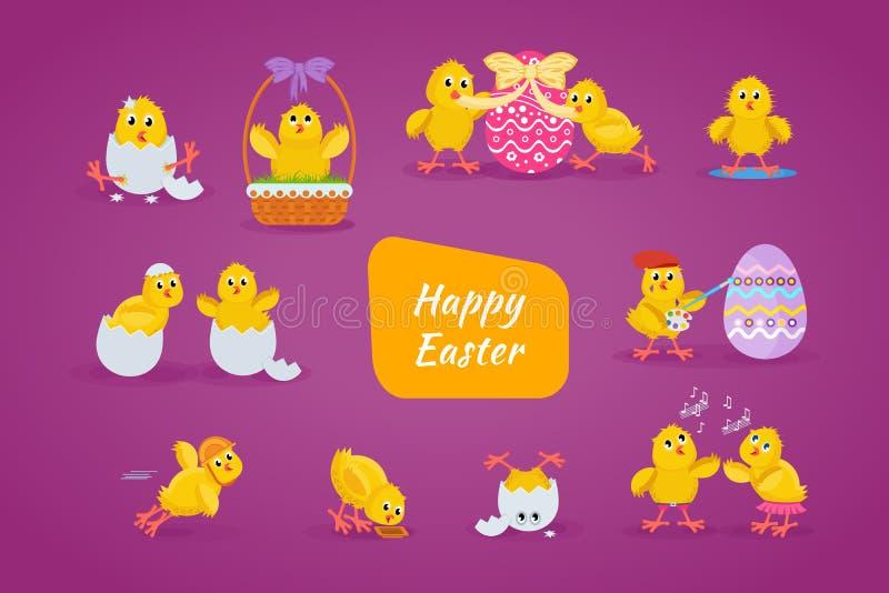 Τα καλά κοτόπουλα έχουν τη διασκέδαση, γιορτάζουν, επιτρέπουν, Πάσχα, το τρέξιμο, μύγα απεικόνιση αποθεμάτων