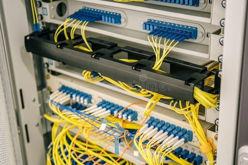 Τα καλώδια δικτύων σύνδεσαν με τους λιμένες διακοπτών στο ντουλάπι datacenter, τον Ιστό ή τον κυψελοειδή τεχνικό εξοπλισμό κεντρι στοκ φωτογραφία