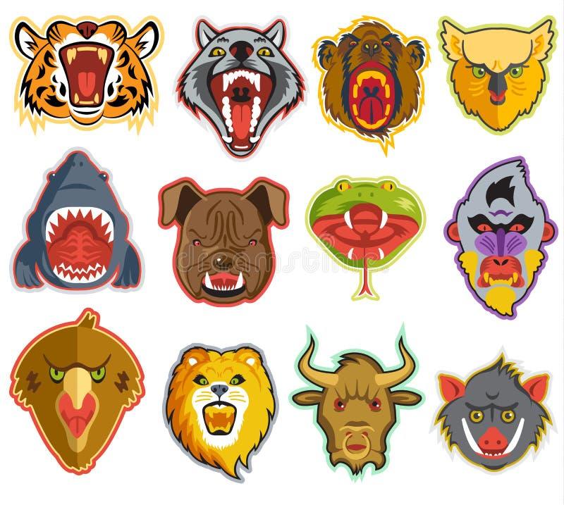 Τα κεφάλια πορτρέτου ζώων με το ανοικτό στόμα του βρυμένος υ λιονταριού ζώων αντέχουν και επιθετικό σύνολο απεικόνισης λύκων ελεύθερη απεικόνιση δικαιώματος