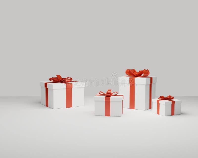 Τα κιβώτια δώρων παρουσιάζουν το εορταστικό άσπρο κόκκινο αιφνιδιαστικής τρισδιάστατος-απεικόνισης απεικόνιση αποθεμάτων