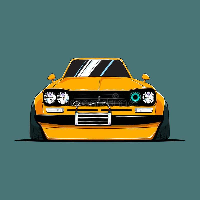 Τα κινούμενα σχέδια συντόνισαν το παλαιό αυτοκίνητο της Ιαπωνίας Μπροστινή όψη απεικόνιση αποθεμάτων