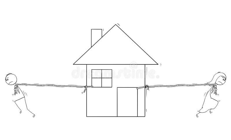 Τα κινούμενα σχέδια του εν διαστάσει ζεύγους σε μια κακή σχέση μετά από το διαζύγιο διαιρούν το σπίτι σε δύο μέρη διανυσματική απεικόνιση