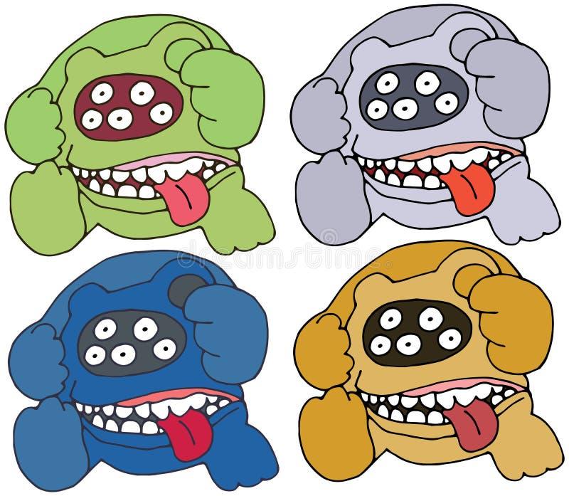 Τα κινούμενα σχέδια τυπωμένων υλών αντέχουν το χέρι τεράτων χρώματος doodle σύρουν καθορισμένο αστείο τρομακτικό διανυσματική απεικόνιση